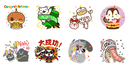 LINE Creators Market: First Anniversary | 4476 Line Sticker GIF & PNG Pack: Animated & Transparent No Background | WhatsApp Sticker