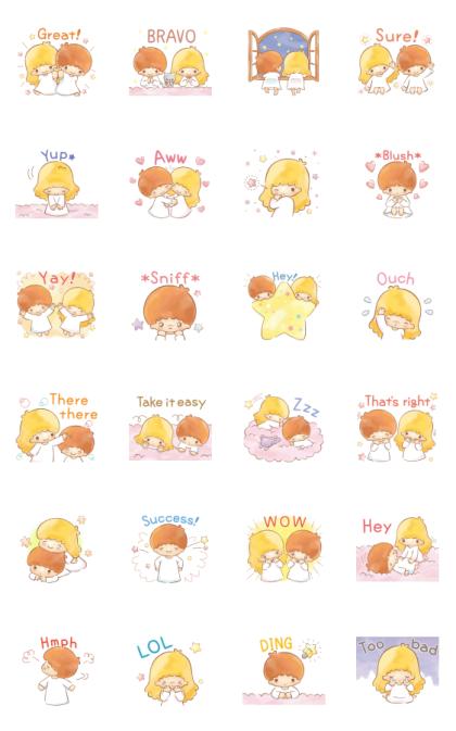 Little Twin Stars: Onomatopoeia Stickers Line Sticker GIF & PNG Pack: Animated & Transparent No Background | WhatsApp Sticker