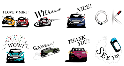 MINI Japan Official Stickers Line Sticker GIF & PNG Pack: Animated & Transparent No Background | WhatsApp Sticker
