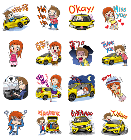 #MULTIFUNLIFE with All-new Honda Jazz Line Sticker GIF & PNG Pack: Animated & Transparent No Background | WhatsApp Sticker