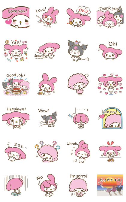 My Melody: Sweet as Can Be! 2 Line Sticker GIF & PNG Pack: Animated & Transparent No Background | WhatsApp Sticker