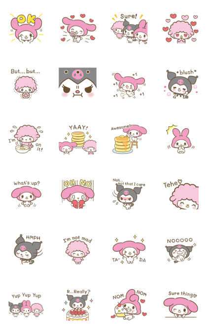 My Melody: Sweet as Can Be! 3 Line Sticker GIF & PNG Pack: Animated & Transparent No Background   WhatsApp Sticker