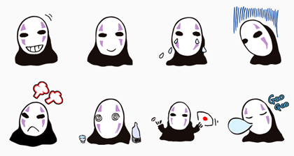 No Face (Spirited Away) Line Sticker GIF & PNG Pack: Animated & Transparent No Background | WhatsApp Sticker