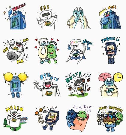 PTT Technobots Line Sticker GIF & PNG Pack: Animated & Transparent No Background | WhatsApp Sticker