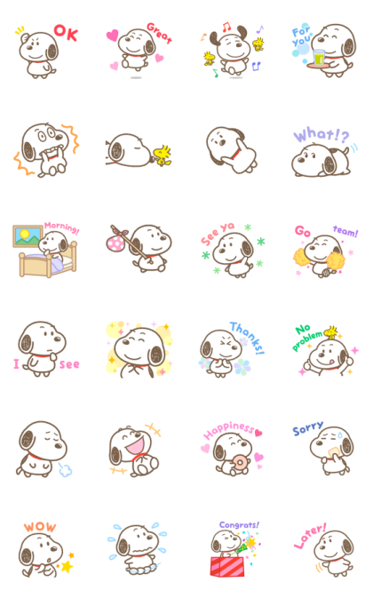 Snoopy: Round Boy Line Sticker GIF & PNG Pack: Animated & Transparent No Background | WhatsApp Sticker