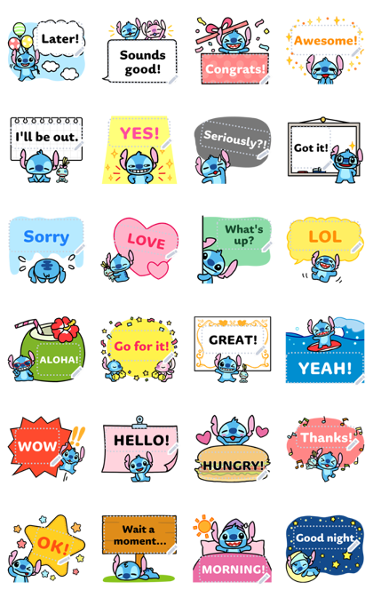 Stitch Message Stickers Line Sticker GIF & PNG Pack: Animated & Transparent No Background | WhatsApp Sticker
