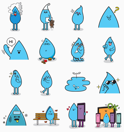 Water is my friend Line Sticker GIF & PNG Pack: Animated & Transparent No Background | WhatsApp Sticker