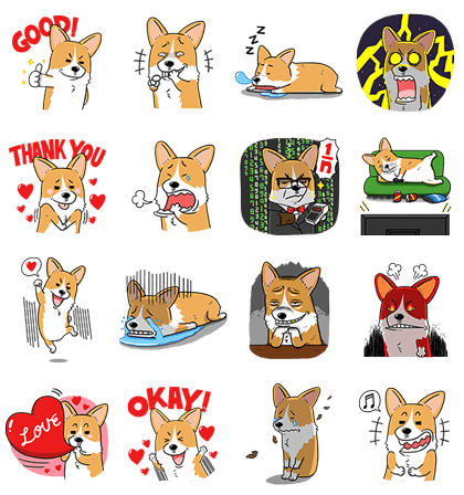 Welsh Corgi Mr. Lee Special Edition Line Sticker GIF & PNG Pack: Animated & Transparent No Background | WhatsApp Sticker
