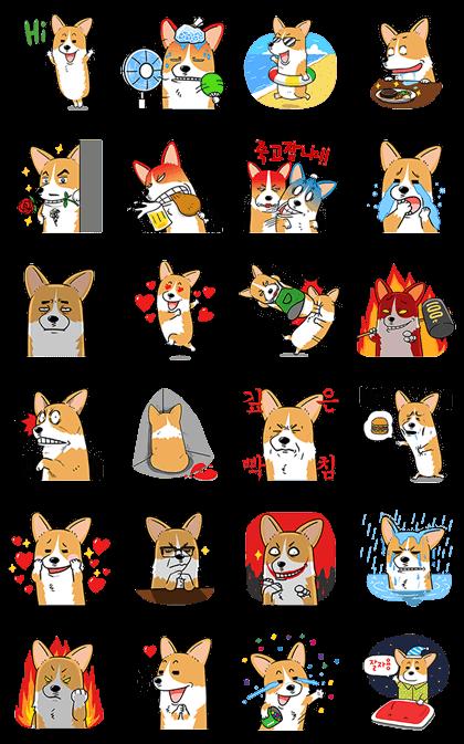 Welshcorgi Mr.LEE Line Sticker GIF & PNG Pack: Animated & Transparent No Background | WhatsApp Sticker