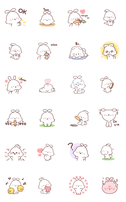 Angora Rabbit Line Sticker GIF & PNG Pack: Animated & Transparent No Background | WhatsApp Sticker