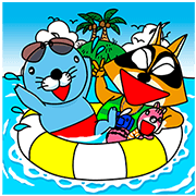Bonobono's Summer Trip Sticker for LINE & WhatsApp | ZIP: GIF & PNG