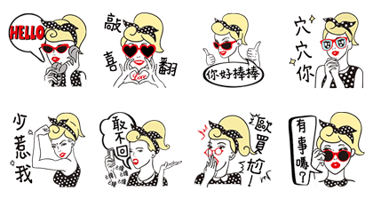 Girl's Chic Chic Life Line Sticker GIF & PNG Pack: Animated & Transparent No Background | WhatsApp Sticker