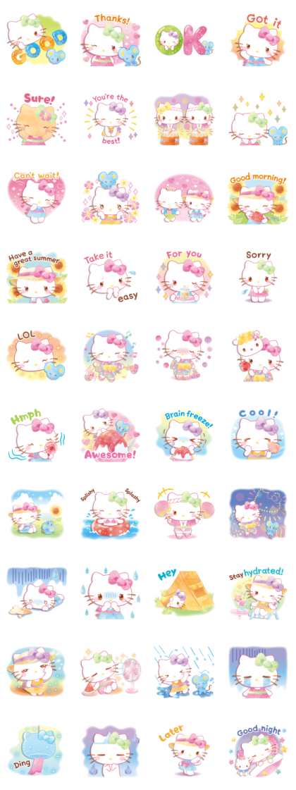 Hello Kitty's Watercolors (Summer) Line Sticker GIF & PNG Pack: Animated & Transparent No Background | WhatsApp Sticker