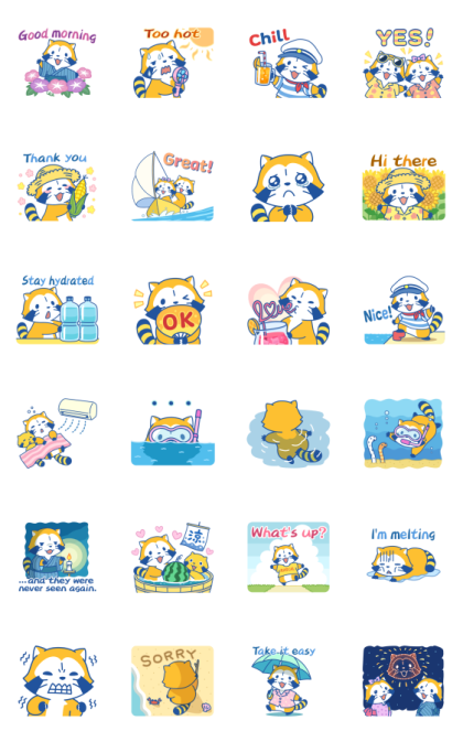 Rascal's Summer Adventures Line Sticker GIF & PNG Pack: Animated & Transparent No Background | WhatsApp Sticker