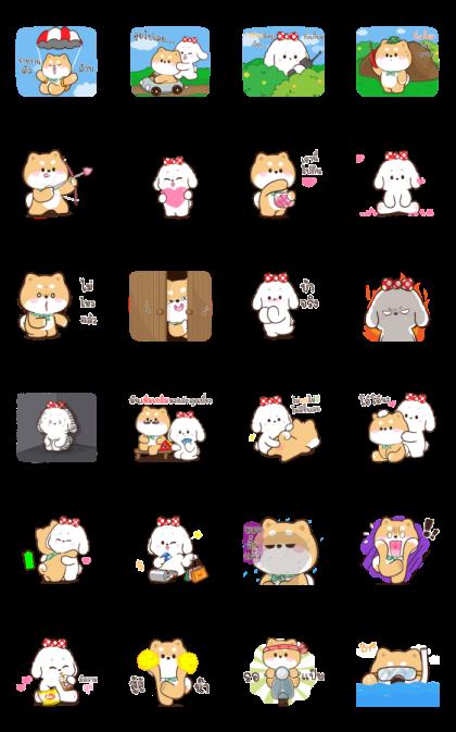 Shibung & Bingsu Animated 3 Line Sticker GIF & PNG Pack: Animated & Transparent No Background | WhatsApp Sticker