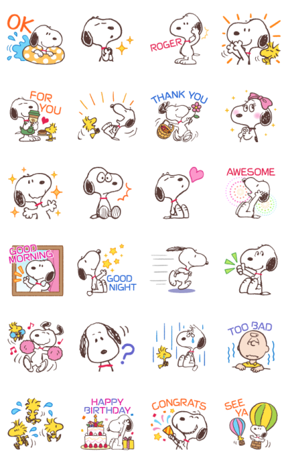 Snoopy Moving Backgrounds Line Sticker GIF & PNG Pack: Animated & Transparent No Background   WhatsApp Sticker