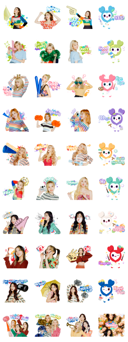 """TWICE """"Fanfare"""" Line Sticker GIF & PNG Pack: Animated & Transparent No Background 