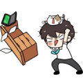 The Salary Man & Tofu Cat DUKDIK Sticker for LINE & WhatsApp | ZIP: GIF & PNG