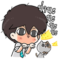 The Salary Man & Tofu the Funny Cat Sticker for LINE & WhatsApp | ZIP: GIF & PNG