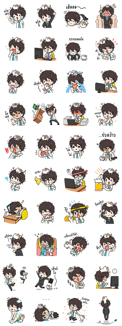 The Salary Man & Tofu the Funny Cat (PAID ver.) Line Sticker GIF & PNG Pack: Animated & Transparent No Background | WhatsApp Sticker