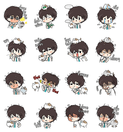 The Salary Man & Tofu the Funny Cat (FREE ver.) Line Sticker GIF & PNG Pack: Animated & Transparent No Background | WhatsApp Sticker