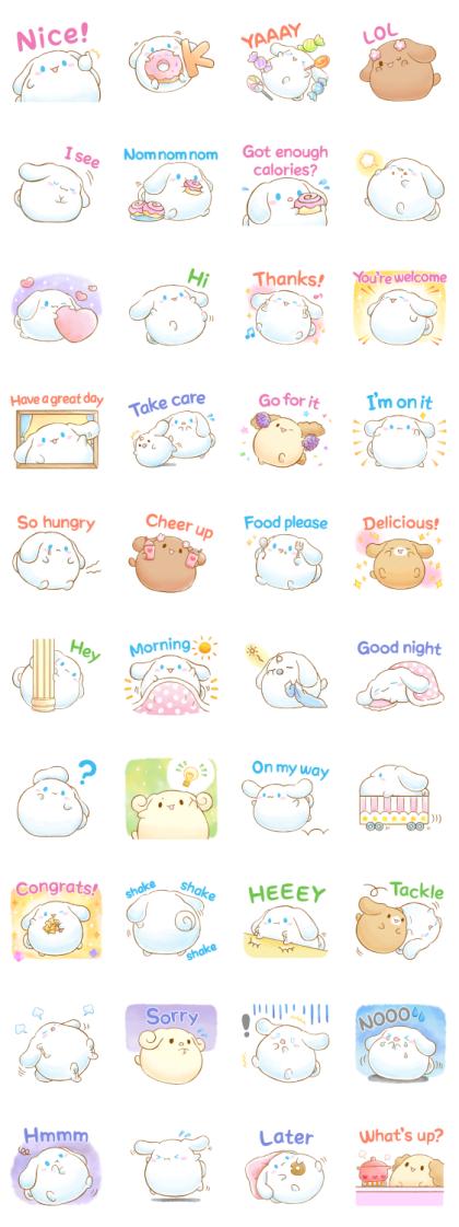 Cinnamoroll: Round Line Sticker GIF & PNG Pack: Animated & Transparent No Background | WhatsApp Sticker