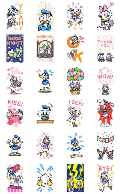 Donald & Daisy Big Stickers Line Sticker GIF & PNG Pack: Animated & Transparent No Background | WhatsApp Sticker