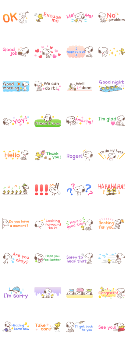 Snoopy Small Stickers Line Sticker GIF & PNG Pack: Animated & Transparent No Background | WhatsApp Sticker