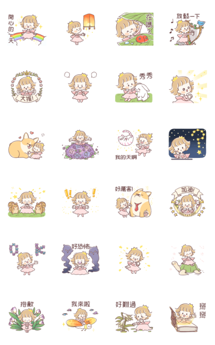 Fairy Princess 2 Line Sticker GIF & PNG Pack: Animated & Transparent No Background | WhatsApp Sticker