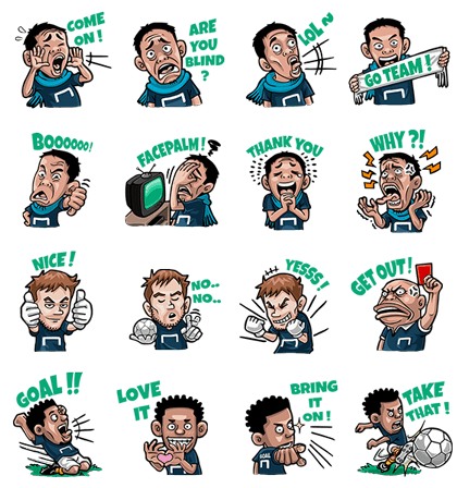 Goal.com: Ultimate Football Fans Line Sticker GIF & PNG Pack: Animated & Transparent No Background | WhatsApp Sticker