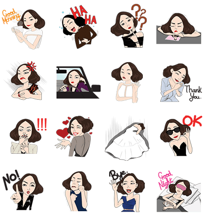Miss V's Daily Life Line Sticker GIF & PNG Pack: Animated & Transparent No Background | WhatsApp Sticker