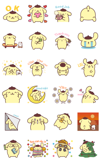 Pompompurin Moving Backgrounds Line Sticker GIF & PNG Pack: Animated & Transparent No Background | WhatsApp Sticker