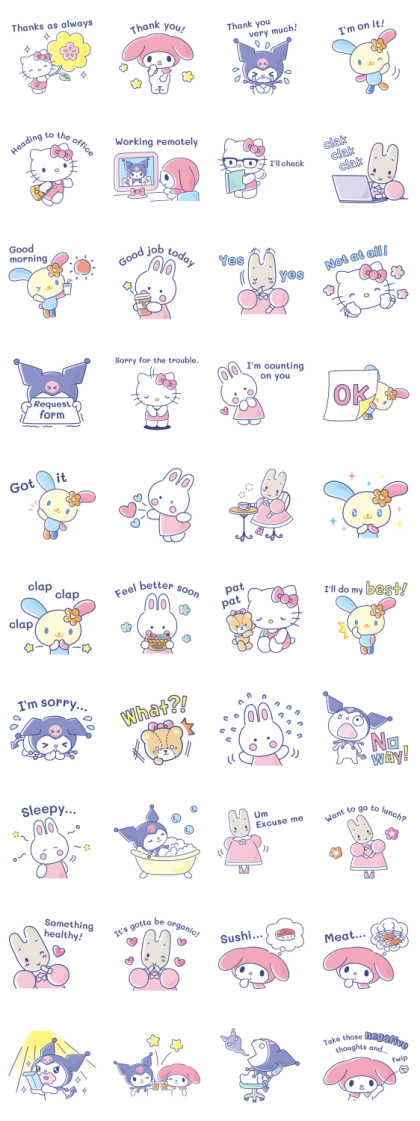 Sanrio Girls Get to Work Line Sticker GIF & PNG Pack: Animated & Transparent No Background | WhatsApp Sticker