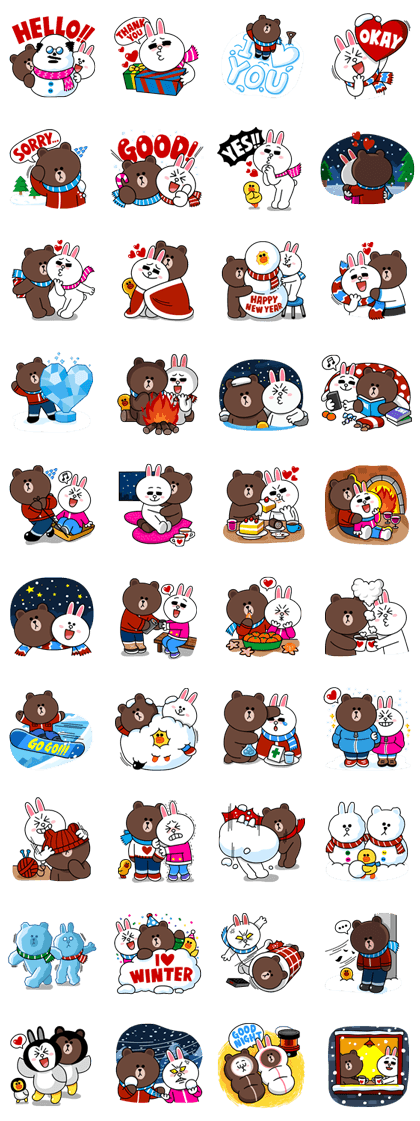 Brown & Cony's Cozy Winter Date Line Sticker GIF & PNG Pack: Animated & Transparent No Background | WhatsApp Sticker