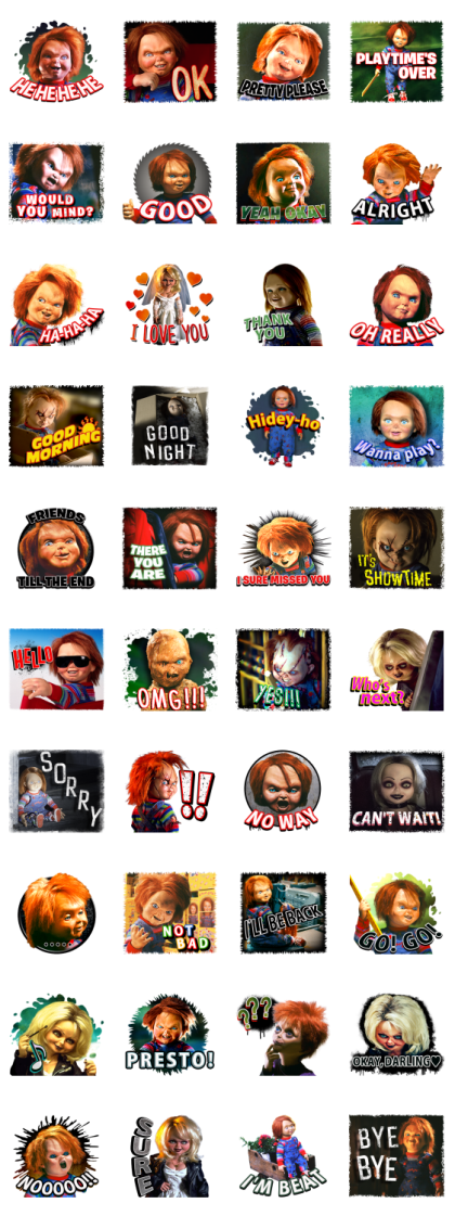 Chucky Horror Stickers Line Sticker GIF & PNG Pack: Animated & Transparent No Background | WhatsApp Sticker