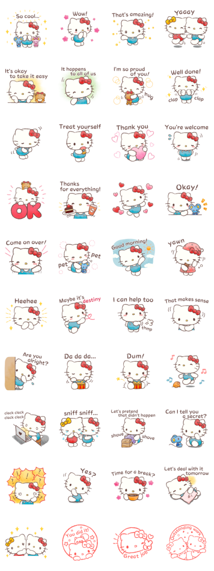 Hello Kitty Pamper Me Line Sticker GIF & PNG Pack: Animated & Transparent No Background | WhatsApp Sticker