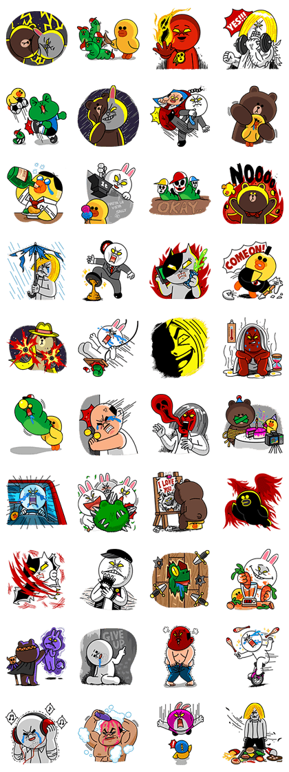 LINE Characters Blow a Fuse Line Sticker GIF & PNG Pack: Animated & Transparent No Background | WhatsApp Sticker