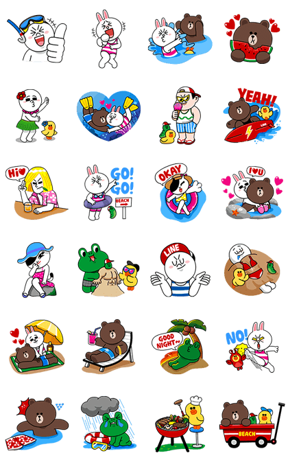 LINE Characters - Happy Vacations Line Sticker GIF & PNG Pack: Animated & Transparent No Background | WhatsApp Sticker