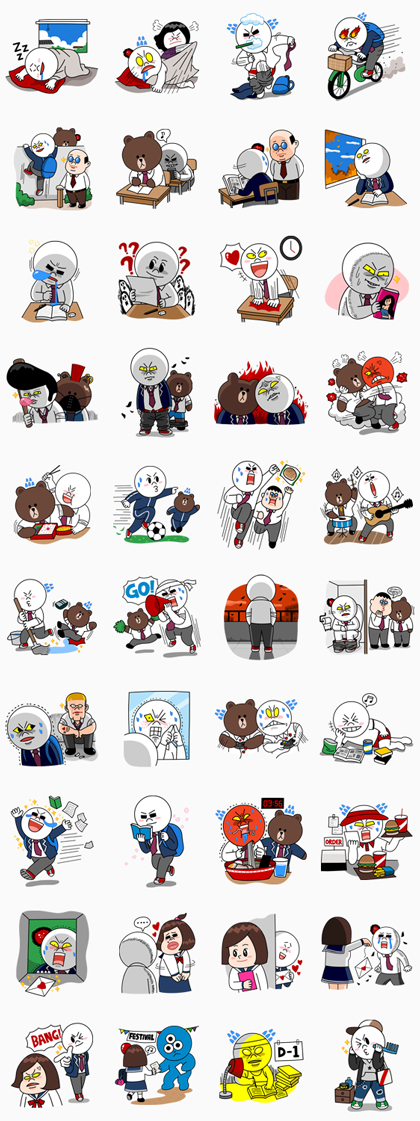Moon: High School Memories Line Sticker GIF & PNG Pack: Animated & Transparent No Background | WhatsApp Sticker