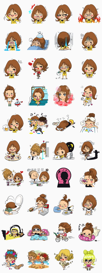 Office Lady Nobuko Line Sticker GIF & PNG Pack: Animated & Transparent No Background | WhatsApp Sticker