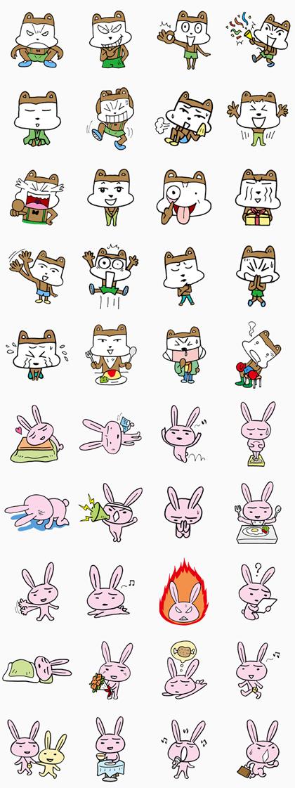 Poo-taro & Happy rabit Line Sticker GIF & PNG Pack: Animated & Transparent No Background   WhatsApp Sticker