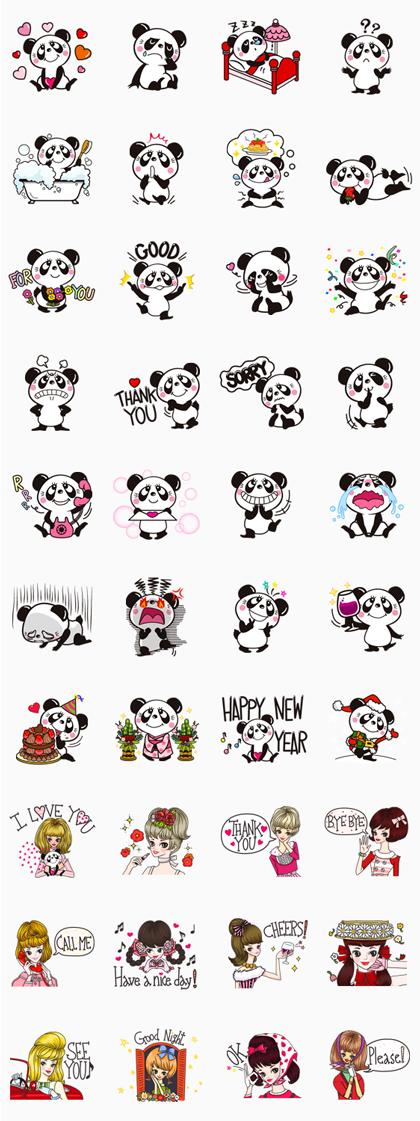 RUNE.NAITO (Panda & Girl) Line Sticker GIF & PNG Pack: Animated & Transparent No Background   WhatsApp Sticker