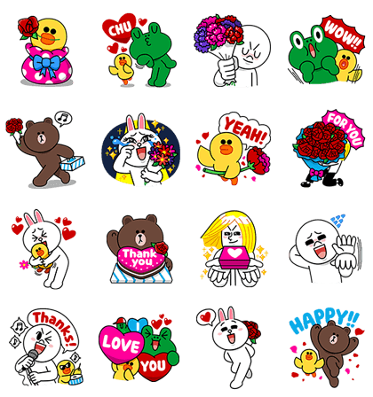 Thank You! LINE Characters Line Sticker GIF & PNG Pack: Animated & Transparent No Background | WhatsApp Sticker