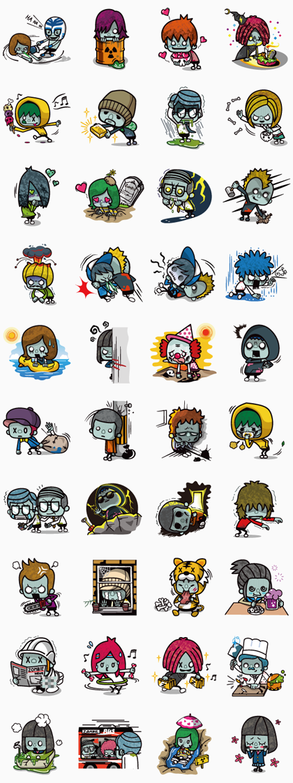 ZOMBIE SEASON Line Sticker GIF & PNG Pack: Animated & Transparent No Background | WhatsApp Sticker