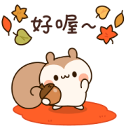 A Sticker Set of Squirrels(Autumn) Sticker for LINE & WhatsApp | ZIP: GIF & PNG