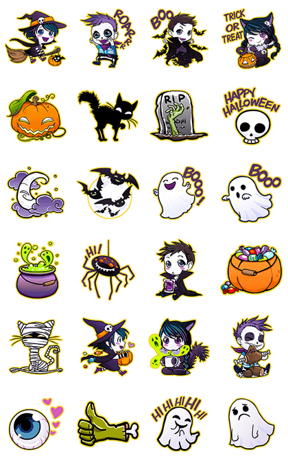 Anna Blue's Halloween Line Sticker GIF & PNG Pack: Animated & Transparent No Background | WhatsApp Sticker