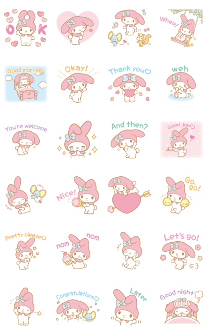 My Melody Moving Backgrounds Line Sticker GIF & PNG Pack: Animated & Transparent No Background | WhatsApp Sticker