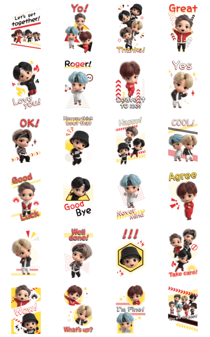 TinyTAN: MIC Drop Line Sticker GIF & PNG Pack: Animated & Transparent No Background | WhatsApp Sticker