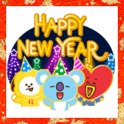 BT21 New Year's Animated Stickers Sticker for LINE & WhatsApp | ZIP: GIF & PNG