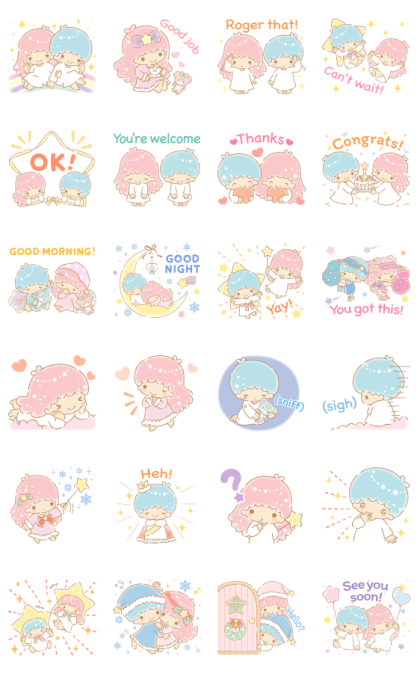 Little Twin Stars Moving Backgrounds Line Sticker GIF & PNG Pack: Animated & Transparent No Background | WhatsApp Sticker